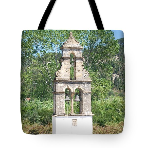 Tote Bag featuring the photograph Bell Tower 1584 1 by George Katechis