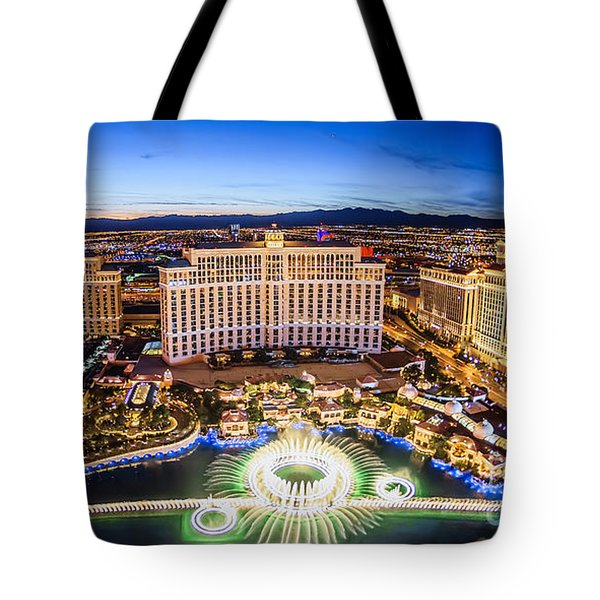 Tote Bag featuring the photograph Bellagio Rountains From Eiffel Tower At Dusk by Aloha Art
