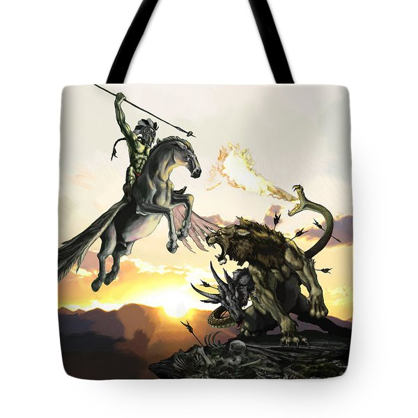Bellephron Slays Chimera Tote Bag by Matt Kedzierski