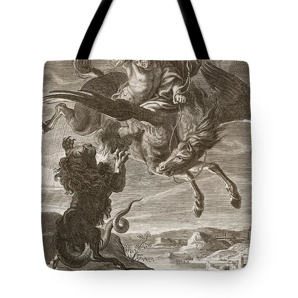 Bellerophon Fights The Chimaera, 1731 Tote Bag by Bernard Picart