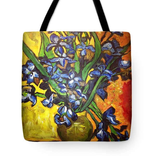 Tote Bag featuring the painting Belle's Pot Of Fiery Irises by Belinda Low