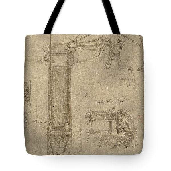 Bellows Perspectograph With Man Examining Inside From Atlantic Codex Tote Bag by Leonardo Da Vinci