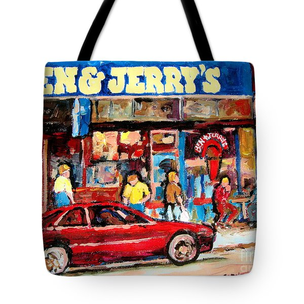 Ben And Jerrys Ice Cream Parlor Tote Bag by Carole Spandau