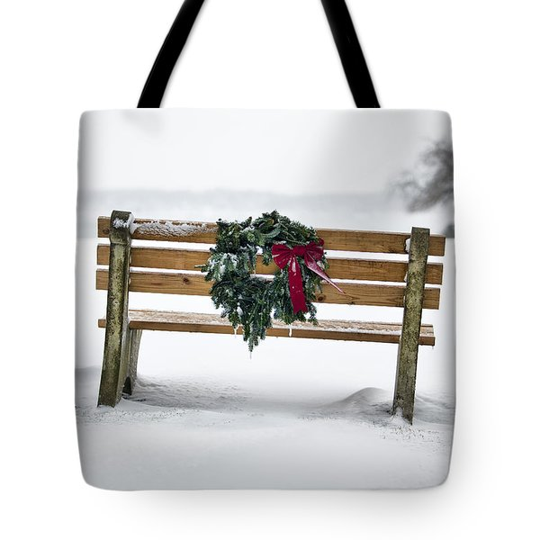 Bench And Wreath Tote Bag by Eric Gendron