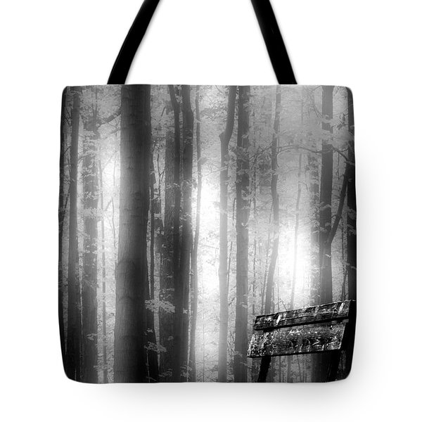 Bench In Michigan Woods Tote Bag