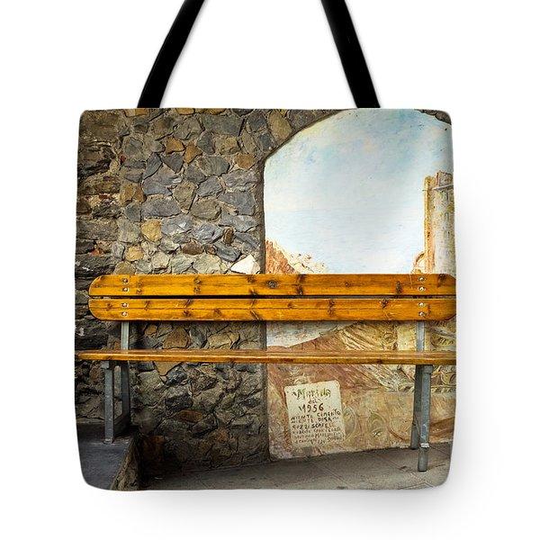 Bench In Riomaggiore Tote Bag