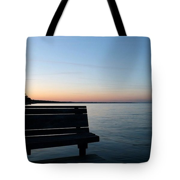 Bench In Silhouette Tote Bag