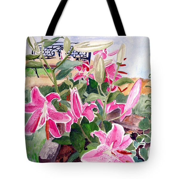 Bench On A Hill Tote Bag by Sandy McIntire