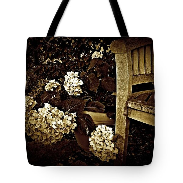 Bench With Hydrangeas Tote Bag by Patricia Strand