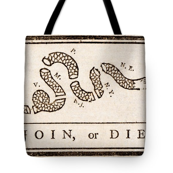 Tote Bag featuring the painting Benjamin Franklin's Join Or Die Cartoon by Benjamin Franklin