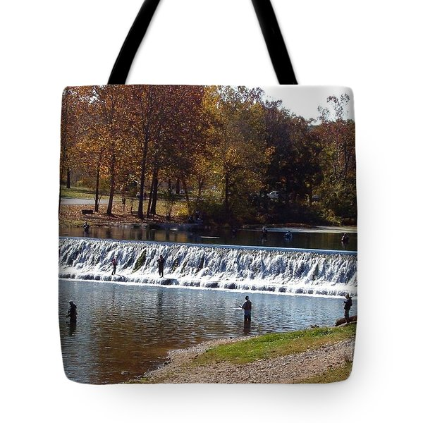 Tote Bag featuring the photograph Bennett Springs Spillway by Sara  Raber