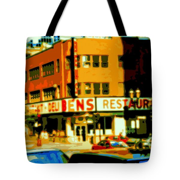 Ben's Restaurant Vintage Montreal Landmarks Nostagic Memories And Scenes Of A By Gone Era Tote Bag by Carole Spandau