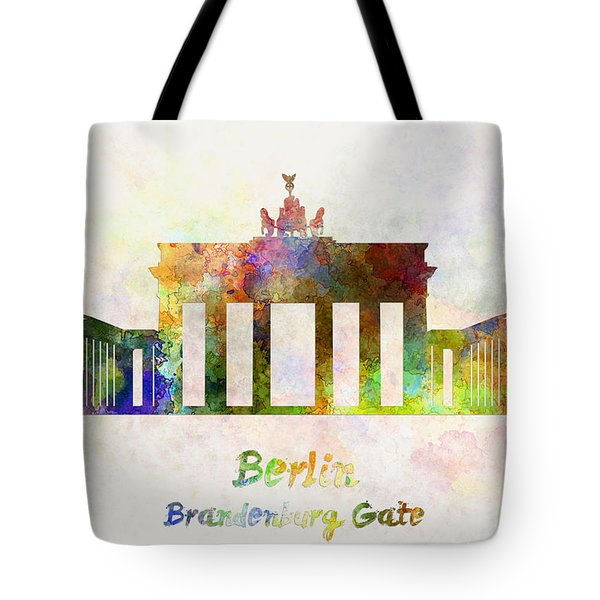 Berlin Landmark Brandenburg Gate In Watercolor Tote Bag by Pablo Romero