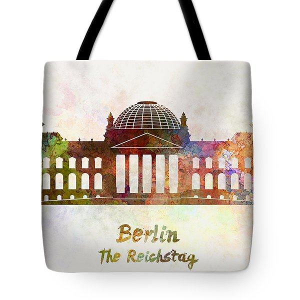 Berlin Landmark The Reichstag In Watercolor Tote Bag by Pablo Romero