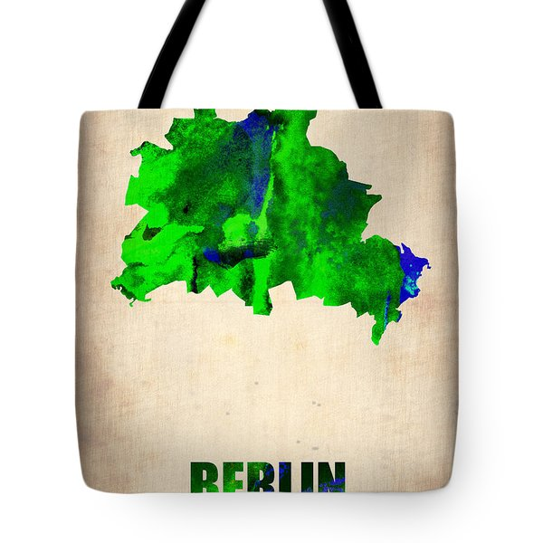 Berlin Watercolor Map Tote Bag by Naxart Studio