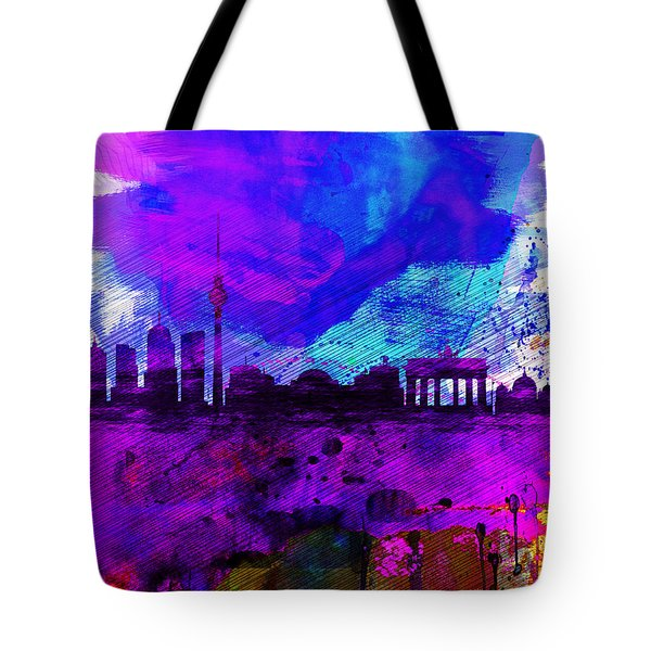 Berlin Watercolor Skyline Tote Bag by Naxart Studio