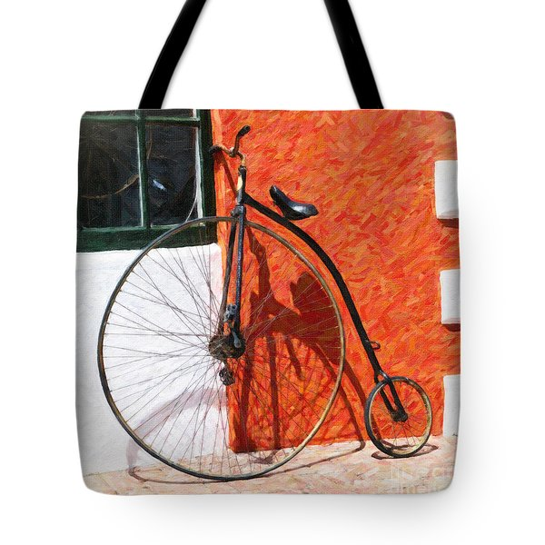 Tote Bag featuring the photograph Bermuda Antique Bicycle by Verena Matthew