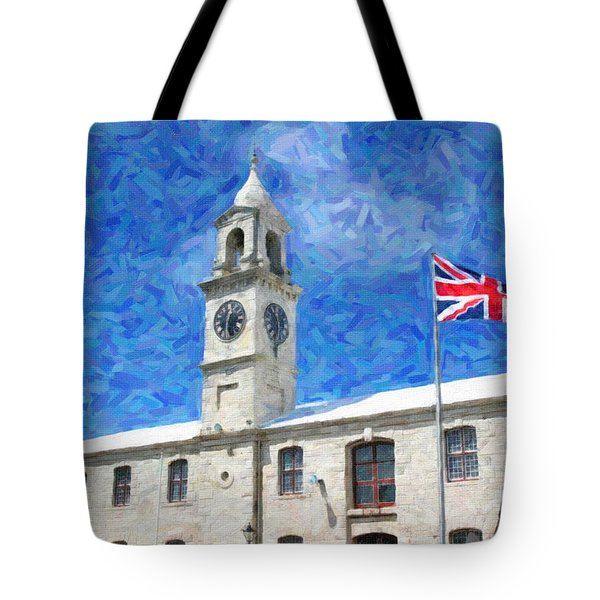 Tote Bag featuring the photograph Bermuda Clocktower by Verena Matthew