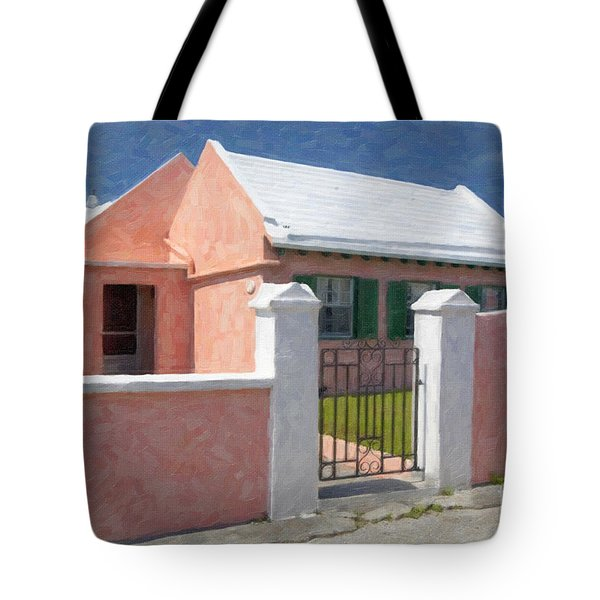 Tote Bag featuring the photograph Bermuda Garden Gate by Verena Matthew