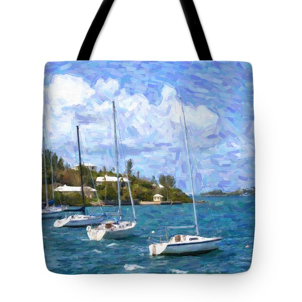 Tote Bag featuring the photograph Bermuda Sailboats by Verena Matthew