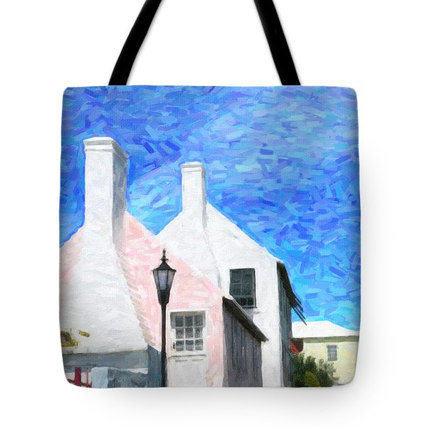 Tote Bag featuring the photograph Bermuda Side Street by Verena Matthew
