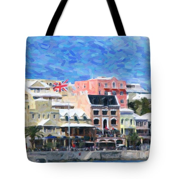 Tote Bag featuring the photograph Bermuda Waterfront by Verena Matthew
