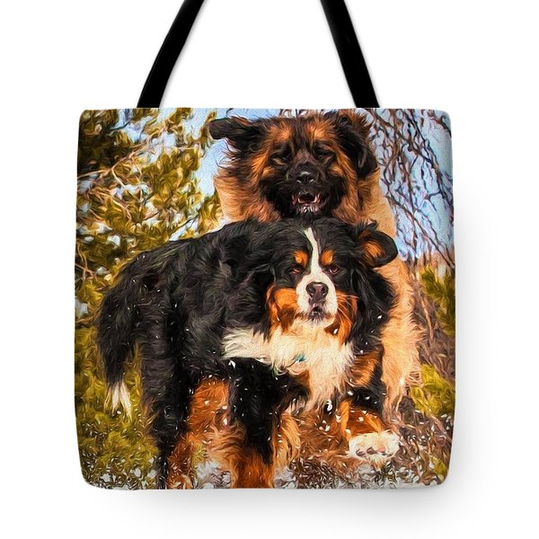 Bernese Mountain Dog And Leonberger Winter Fun Tote Bag