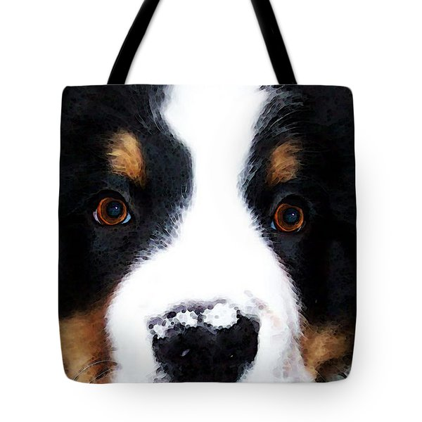 Bernese Mountain Dog - Baby It's Cold Outside Tote Bag by Sharon Cummings