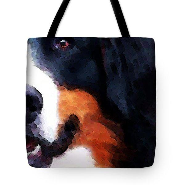 Bernese Mountain Dog - Half Face Tote Bag by Sharon Cummings