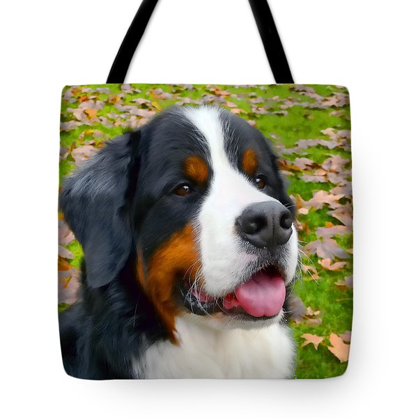 Bernese Mountain Dog Tote Bag by Jennie Marie Schell