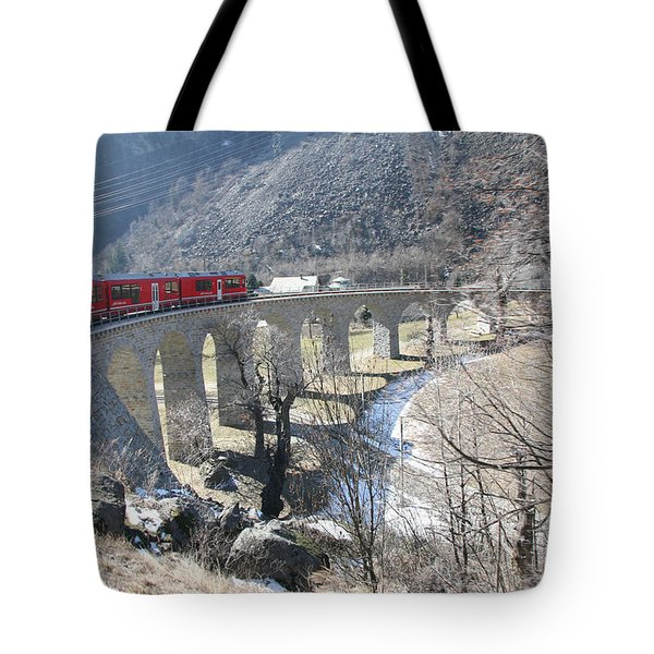 Tote Bag featuring the photograph Bernina Express In Winter by Travel Pics