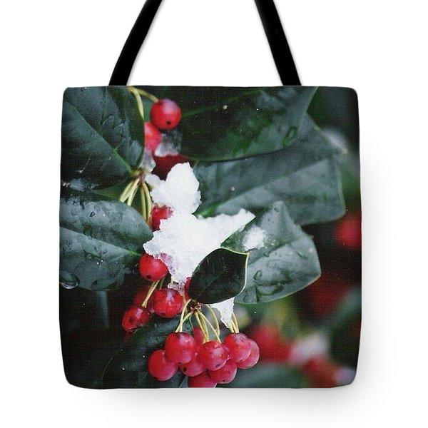 Berries In The Snow Tote Bag
