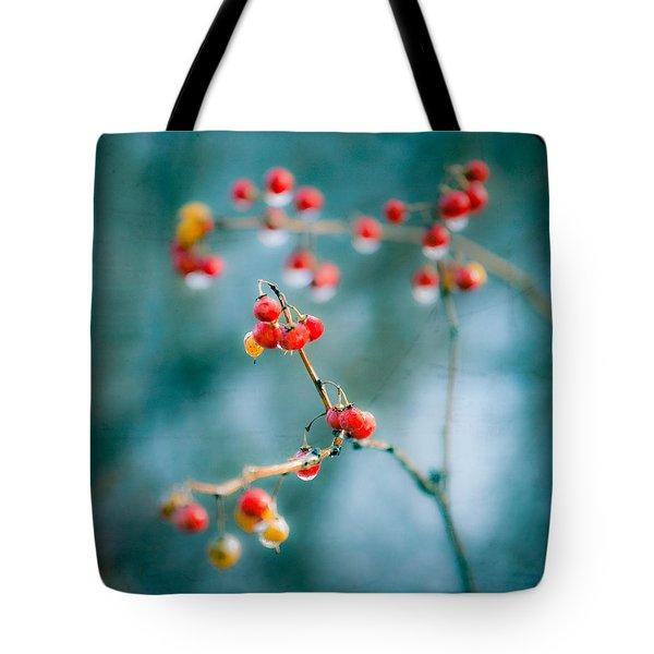Berry Nice - Red Berries - Winter Frost Icy Red Berries - Gary Heller Tote Bag by Gary Heller