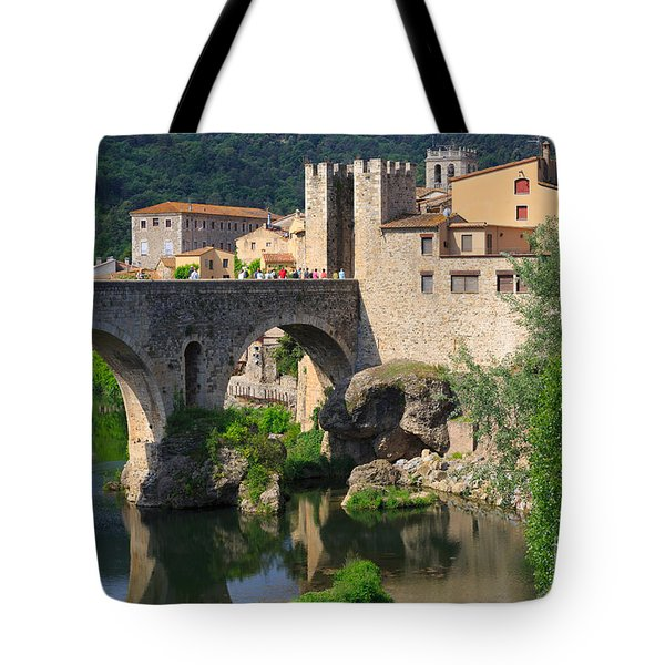 Besalu A Medieval Town In Catalonia Spain Tote Bag by Louise Heusinkveld