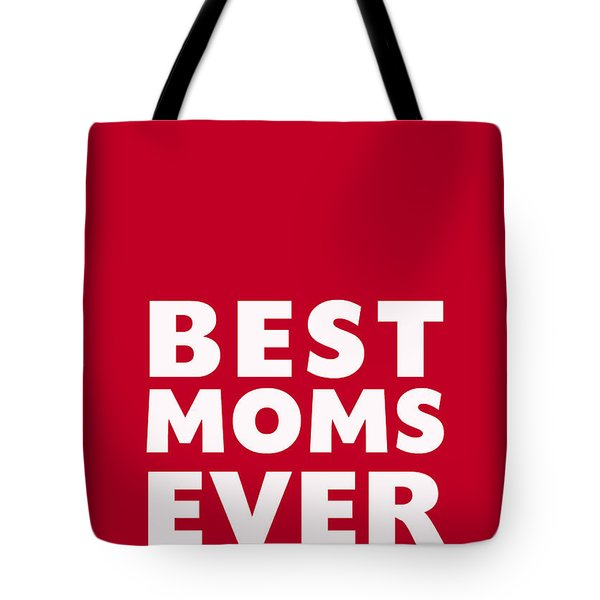 Best Moms Card- Red- Two Moms Mother's Day Card Tote Bag by Linda Woods