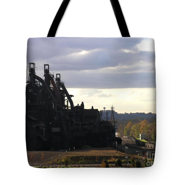 Bethlehem Steel On The Lehigh River Tote Bag by Jacqueline M Lewis