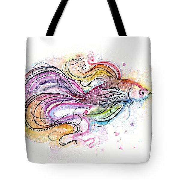 Betta Fish Watercolor Tote Bag