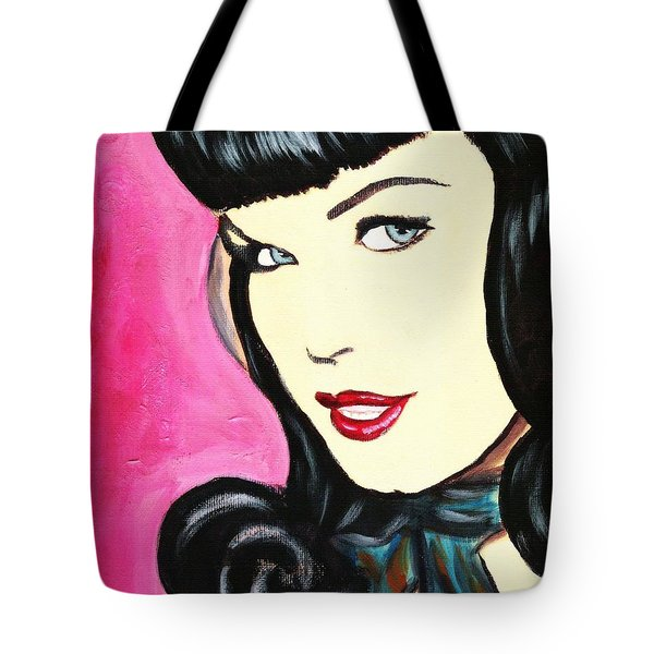 Bettie Page Pop Art Painting Tote Bag