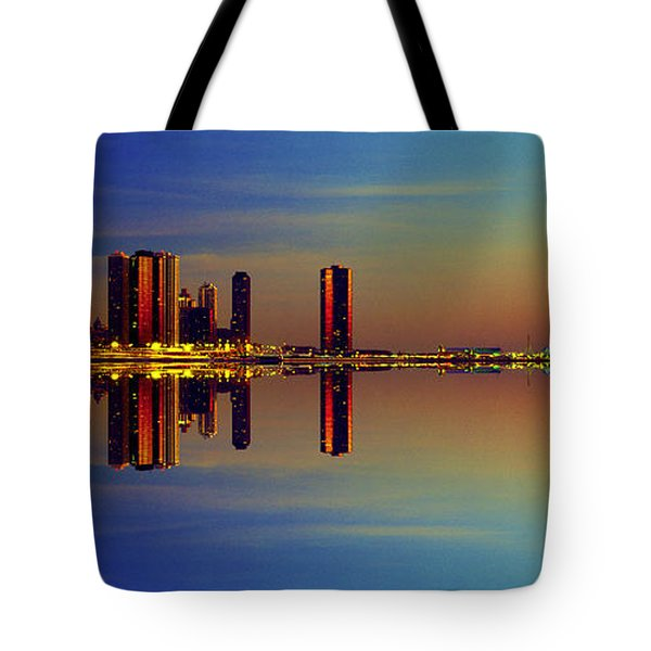 Between Night And Day Chicago Skyline Mirrored Tote Bag