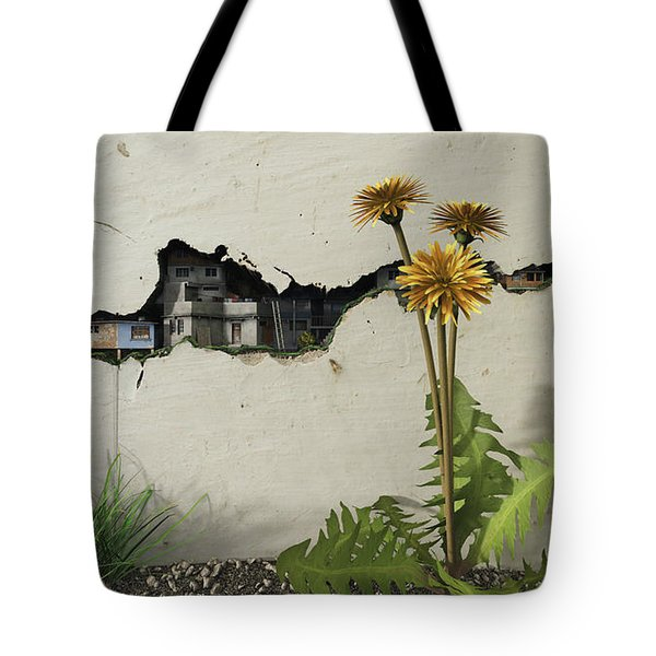 Between The Cracks Tote Bag by Cynthia Decker