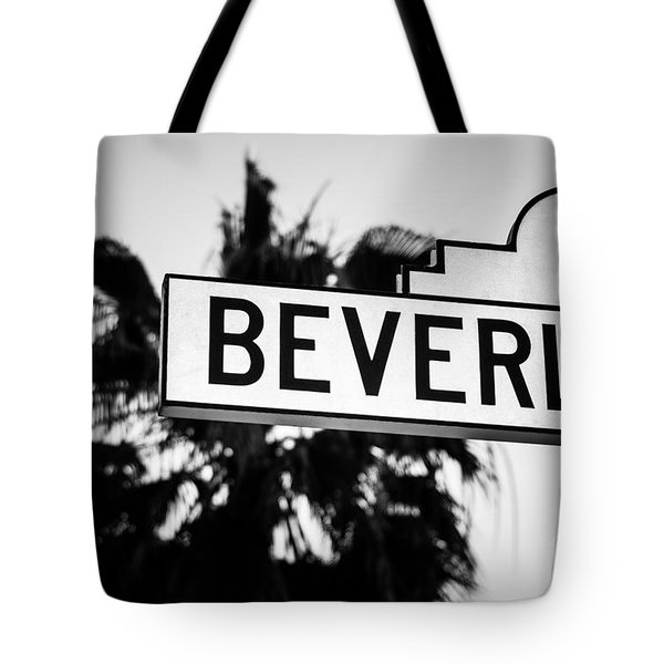 Beverly Boulevard Street Sign In Black An White Tote Bag by Paul Velgos