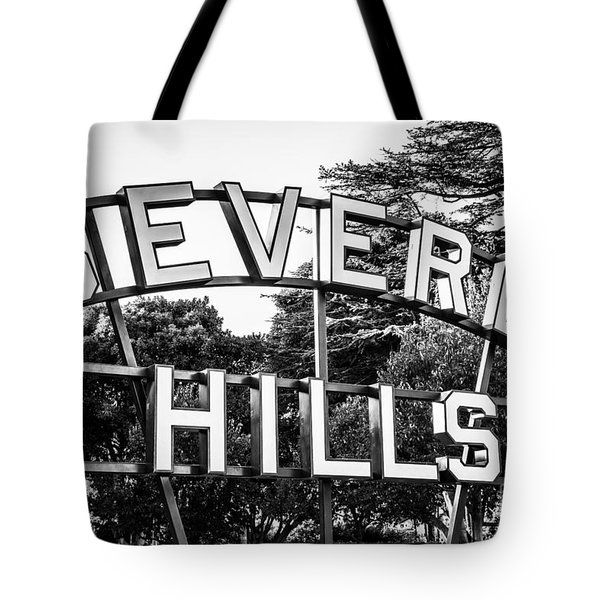 Beverly Hills Sign In Black And White Tote Bag by Paul Velgos