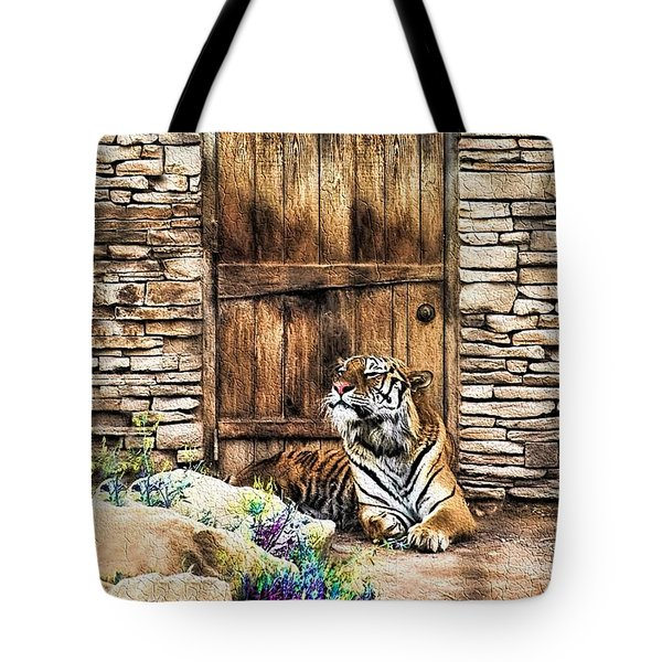 Tote Bag featuring the painting Beware Of House Cat Beautiful Tiger by Tracie Kaska