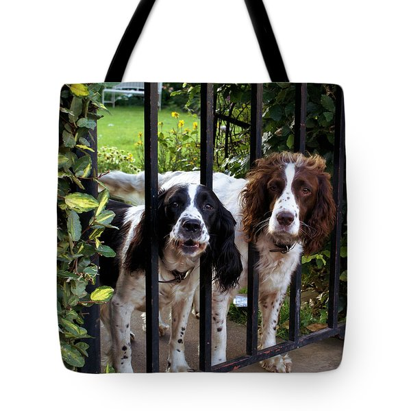 Beware Of The Dogs Tote Bag by Ron Harpham