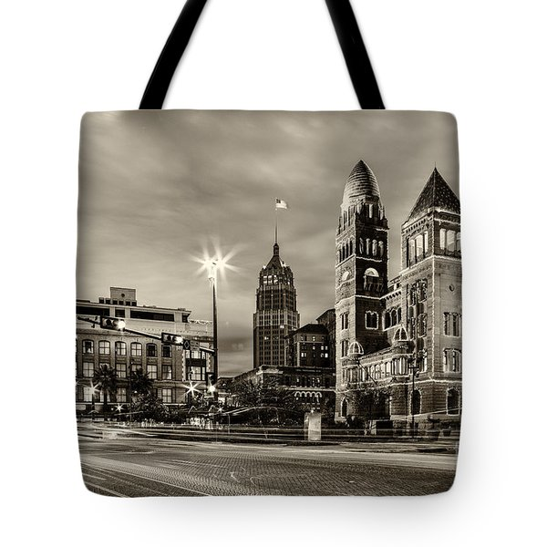 Bexar County Courthouse And Tower Life Building Main Plaza In Bw Monochrome - San Antonio Texas Tote Bag