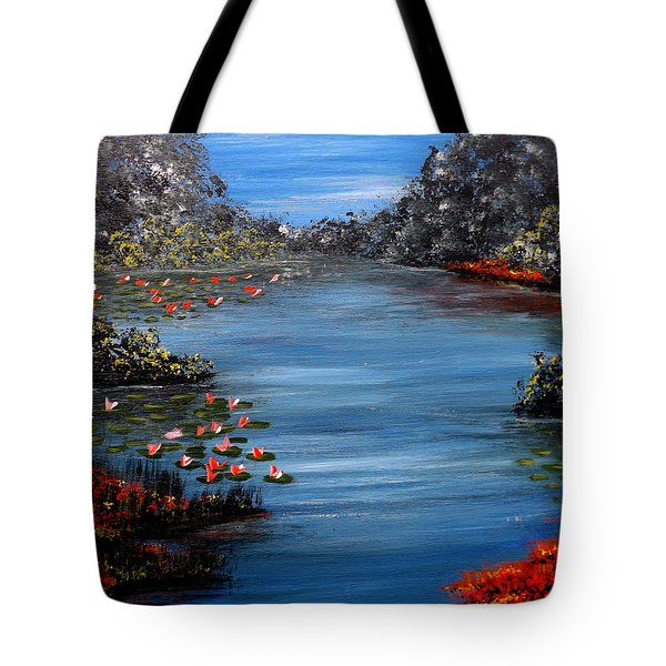 Beyond The Bridge At Lily Pond Tote Bag