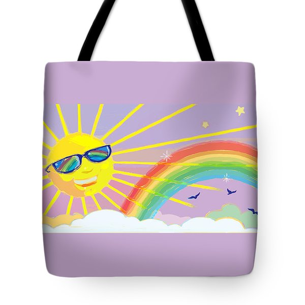 Tote Bag featuring the mixed media Beyond The Rainbow by J L Meadows