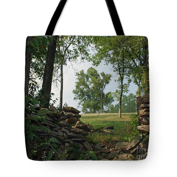 Beyond The Rock Fence Tote Bag by Roger Potts