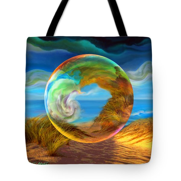 Tote Bag featuring the painting Beyond The Sea  by Robin Moline