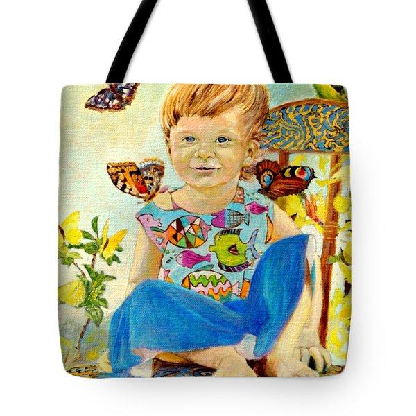 Bianka And Butterflies Tote Bag by Henryk Gorecki